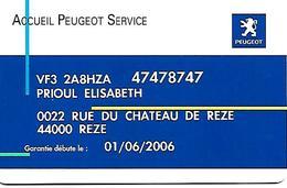 CARTE-n-MAGNETIQUE-FIDELITE -2006-PEUGEOT SERVICE-04/04 Gemplus-TBE- - France