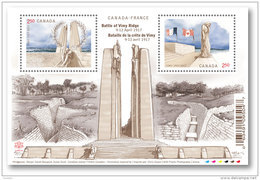 CANADA 2017. #2981  CENTENARY Of The BATTLE Of VIMY RIDGE,  SHEETHLET Of  Two $2.50  Stamps   See Info Below - Blocs-feuillets