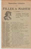 C P A - NOUVELLES LITANIES DES FILLES A MARIER - HENRI - LEON - VINCENT - FRANCOIS - ALBERT - EDMOND - HILAIRE - NARCISS - Contes, Fables & Légendes