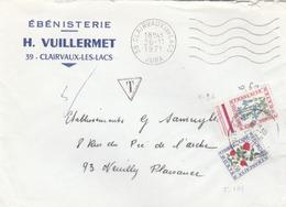 Lettre De Clairvaux Les Lacs (Jura) Taxé à 0,60F. ( N° 96 + 101 )par Absence De TP. - Marcophilie (Lettres)