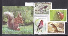 Uzbekistan 2018 Forest Animals Birds Insects Etc Set+s/s MNH - Oiseaux