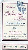 Etiquette (7,4 X 12,5) Château Les Renardiéres De Faurie  2002 Côtes De Duras Gérad Dalla-Longa Monségur 33 - Bordeaux