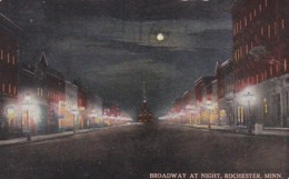 Minnesota Rochester Broadway At Night 1914 - Rochester