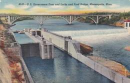 Minnesota Minneapolis U S Government Dam And Locks & Ford Bridge Curteich - Minneapolis