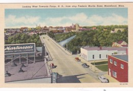 Minnesota Moorehead Looking West Towards Fargo From Atop Frederic Martin Hotel Curteich - United States