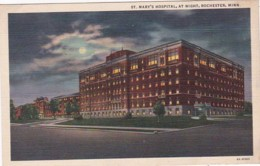 Minnesota Rochester St Mary's Hospital At Night Curteich - Rochester