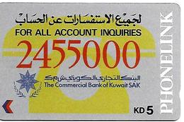 CARTE-n-MAGNETIQUE-ASIE-KOWEIT-KD5-2455000-BANK -BE-RARE - Koweït