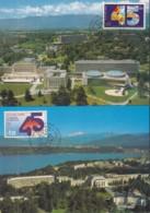 UNO GENF, 188-189 MC, Private Maximumkarten, 45 Jahre UNO 1990 - Maximumkarten