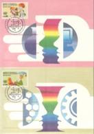 UNO GENF, 221-222 MC, Maximumkarten 12-13, Wissenschaft Und Technologie Im Dienst Der Entwicklung 1992 - Maximumkarten