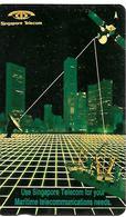 CARTE-n-MAGNETIQUE-1990 -SINGAPOUR-5$-SATELLITE Pour Telecom Maritime-TBE - Singapore