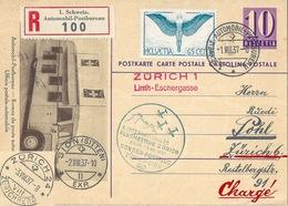 """Luftpost R PK  """"4.Int.Flugmeeting Zürich - Sion""""  (Zürich Linth Eschergasse)     1937 - Suisse"""