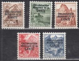 SCHWEIZ  OMS/WHO, 1-5, Postfrisch **, Weltgesundheitsorganisation 1948 - Service