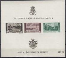 """RUMÄNIEN  Block 9, Postfrisch **, Mint, 100. Geburtstag Von König Karl I., Mit Aufdruck """"PRO PATRIA 1940"""" - Blocks & Sheetlets"""