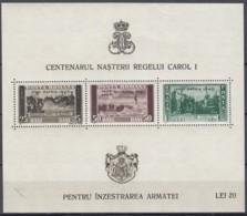 """RUMÄNIEN  Block 10, Postfrisch **, Mint, 100. Geburtstag Von König Karl I., Mit Aufdruck """"PRO PATRIA 1940"""" - Blocks & Sheetlets"""