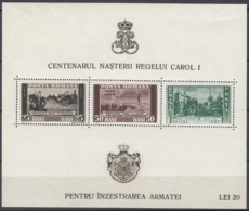 RUMÄNIEN  Block 4, Postfrisch *, 100. Geburtstag Von König Karl I. 1939 - Blocks & Sheetlets