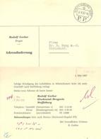 Adressänderung  Steffisburg Dorf - Dielsdorf          1957 - Suisse