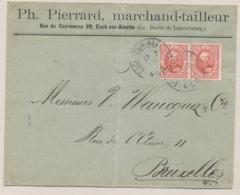 Luxembourg - 1895 - 2x10c Grossherzog Adolf On Business-cover From Esch-sur-Alzette To Bruxelles / België - 1891 Adolphe De Face