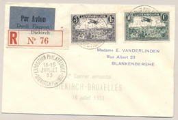 Luxembourg - 1933 - 3F & 50c Flugpost On R-cover Par Avion From Diekirch To Bruxelles / België - Briefe U. Dokumente
