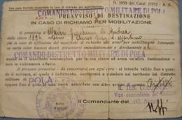 Comando Distretto Militare Di Pola Mobilitazione Maver Giovanni Di Cherso Carnaro Istria Croatia - Documents Historiques