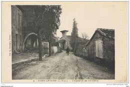 Cpa..47..SAINT ANTOINE...L'EGLISE ET LES CORNIERES....ANIMEE... - Frankrijk