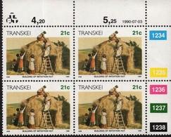 Transkei - 1984 Xhosa Culture 21c Additional Value Control Block (**) - Transkei