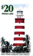 CARTE-n-PUCE-20$-BAHAMAS-BATELCO-HOPE TOWN HARBOUR LIGHT ABACO-Utilisé-TBE - Bahama's