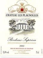 Etiquette (9X12) Château Les PLAGNOLLES  2002 Bordeaux Superieur  SCEA Vignobles FriteGotto 33 - Bordeaux