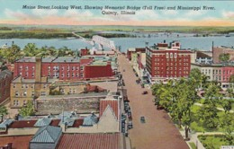 Illinois Quincy Maine Street Looking West Showing Memorial Bridge & Mississippi River Curteich - United States