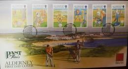 L) 2001 ALDERNEY, 30TH ANNIVERSARY GOLF CLUB, SPORT, PEOPLE, ARCHITECTURE, FDC - Alderney