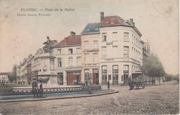 CPA Vilvorde - Place De La Station (animation Avec Attelage Devant Café, Distilleries ...) - Vilvoorde