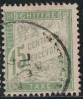 France 1893 Taxe Yv. N°30 - 15c Vert-jaune - Oblitéré - Taxes