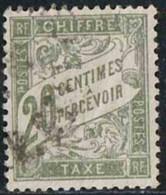 France 1893 Taxe Yv. N°31 - 20c Olive - Oblitéré - Taxes