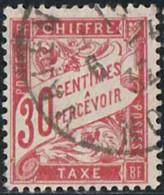 France 1893 Taxe Yv. N°33 - 30c Rouge Carminé - Oblitéré - Taxes