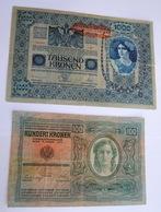 Lotto Costituito Da Nr. 2 Banconote Rispettivamente In Tagli Da 1000 E 100 Corone KUK D'epoca (AUSTRIA WW1) - Austria