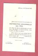Ecoles Communales De CHIMAY - Distribution Solennelle Des Prix Du 24 JUILLET 1937 - Invitation Programme - - Programmes