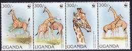 2018-0004 Uganda 1997 Giraffes WWF Complete Set Mi 1790-93 MNH ** - W.W.F.
