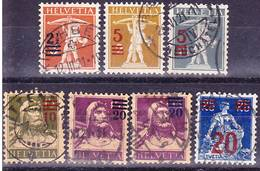 2018-0011 Suisse 1921 Complete Definitive Overprint Serie Mi 156-161 Including Both Colour Types Of Mi 160! Used O - Suisse