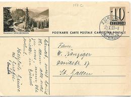 """160 - 28 - Entier Postal  Avec Illustration """"Reisewland Gruabünden"""" Cachet à Date Zürich Wipkingen 1953 - Entiers Postaux"""