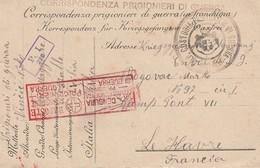 Sicilia - Custodia Prigionieri Di Guerra Pozzallo - Carte En Franchise D'un Prisonnier De Guerre Vers Le Havre - - 1900-44 Victor Emmanuel III