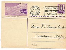 """160 - 39 - Entier Postal  Avec Illustration """"Postauto Im Winter"""" Oblit Mécanique 1936"""" - Entiers Postaux"""