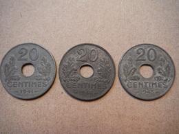 P78   3 X 20 Centimes Etat Français - 1941, 1942, 1943 - France