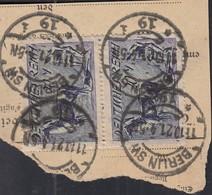 INFLA  DR 2x 176 A MeF, Auf Paketkartenabschnitt, Mit Stempel: Berlin SW 11.10.1921 - Infla