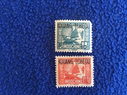 """French :Stamps; Offices In China 1920s Or 1930s Overstruck """"Kouang Tchedou,"""" Set Of 2 MLH - France"""