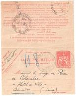 PARIS 113 Hotel De Ville Pneumatique Dest Colombes Ob 15 5 1935 Carte Lettre 1,50 F Chaplain Yv 2605 Storch O2 - Entiers Postaux