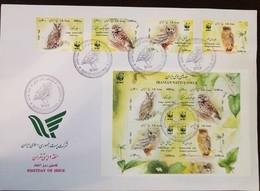 L) 2011 IRAN, NATIVE OLW, BIRD, NATURE, FAUNA, WWF, PLANT, STAMPS, SOUVENIR SHEET, FDC - Iran