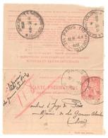 PARIS 98 Bourse Pneumatique Dest La Garenne Colombes Ob 6 4 1936 Carte Lettre 1,50 F Chaplain Yv 2605 Storch O2 - Pneumatiques