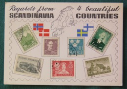 Denmark 1963 Postcard Real Stamps Of Scandinavia To USA - Tivoli - Denmark