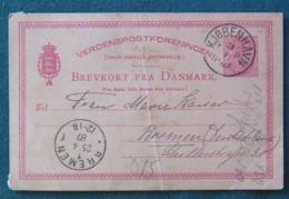 Denmark 1887 Stationery Postcard (arms) Kopenhaguen To Bremen Germany - Denmark