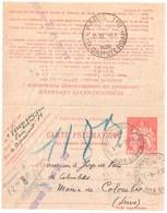 PARIS XVIII Clignancourt Pneumatique Dest Colombes Ob 8 1 1936 Carte Lettre 1,50 F Chaplain Yv 2605 Storch O2 - Entiers Postaux