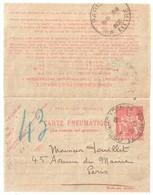 PARIS 71 Victr Hugo Pneumatique Dest Paris 43 Ob 30 6 1930 Carte Lettre 1,50 F Chaplain Yv 2605 Storch O2 - Entiers Postaux